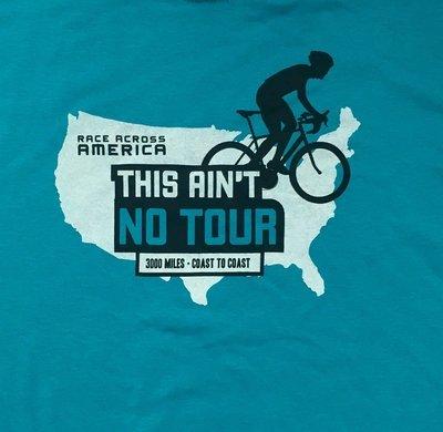 "RAAM ""No Tour' T-Shirt - Map Design - Short Sleeve, Tropical Blue"