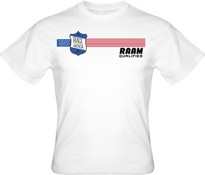 RAAM Qualified T-Shirt:  Badge Logo, White