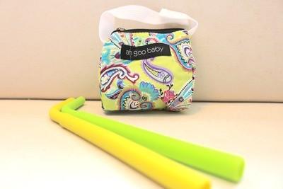 Tote Bag & 2pcs FDA Silicone Drinking Straws Soft Straight Silicone Rubber Straw (Tote bag Set Bloom design)