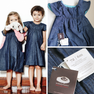 Wobabybasics Denim Dress 6Months Certified Organic Cotton Kids Clothing