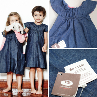 Wobabybasics Denim Dress 12Months Certified Organic Cotton Kids Clothing