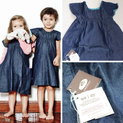 Wobabybasics Denim Dress 2 Years Certified Organic Cotton Kids Clothing