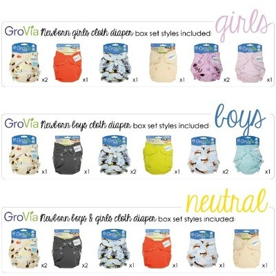 GroVia Newborn All-in-One (AIO) - Newborn Pack of 8pcs ONLY. Select your 8 designs. Infant cloth diapers. Box Packaging for girls only/Loose pcs. Boy/Neutral.