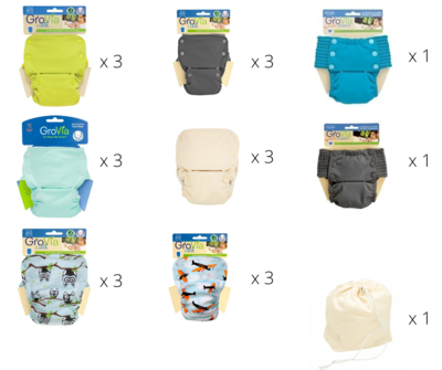 Grovia Snap AIO (All in one) Diaper Sale 20 pieces Set with FREE 1x Pail Liner. Free Shipping W.Malaysia ONLY.