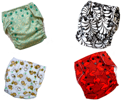 6 - pcs Print Bouncy Baby Cloth Diaper/One Size Pocket Diaper. Set of 6pcs Diapers & 6pcs Single Layer Bouncy Baby Microfiber inserts. 4x Print colors as seen in photo. (BUY AS IS SECTION)