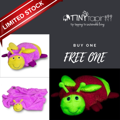 Buy 1 Get 1 Free Zoobies glow in the dark Glimmer the Glow-Worm, 3 in 1 blanket, pillow & plush toy, great kids childrens gift