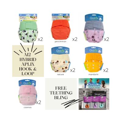 Grovia APLIX Pack of 12pcs Shell Cloth Diapers Girls Set. FREE 1x Teething bling & FREE 1x Pail Liner.