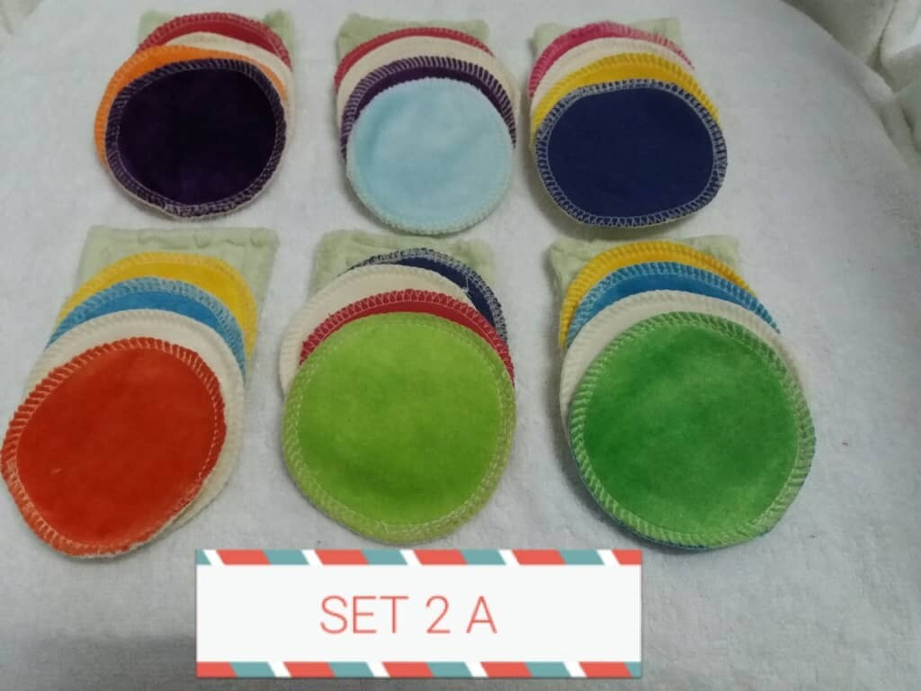 """Re-usable Round Colorful Bamboo Facial Cloth Puffs 3"""" NOW ONLY RM 10.00 Per Set of (5pcs) at RM2.00 each per pc. SET (2A & 2B). SOLD in Loose pcs."""
