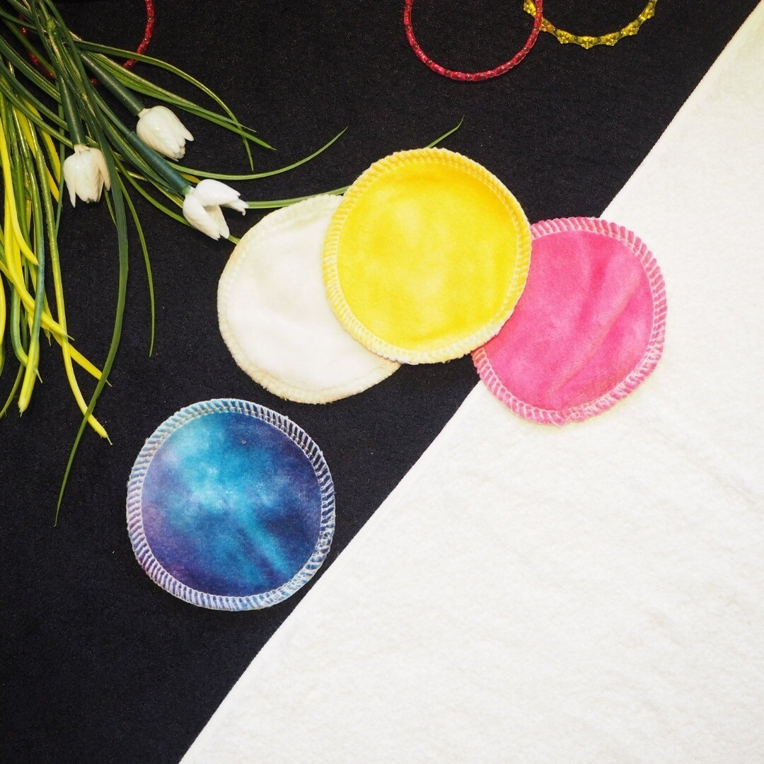 """Re-usable Round Colorful Bamboo Facial Cloth Puffs 3"""" NOW ONLY RM 10.00 Per Set of (5pcs) at RM2.00 each per pc. SET (3B). SOLD in Loose pcs."""