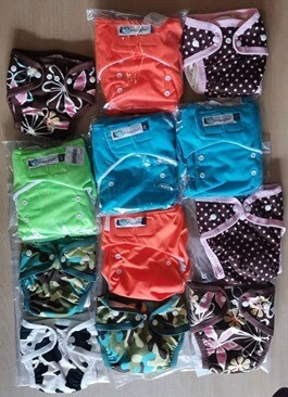 Urban Fluff Cloth diapers. Lot of 12 diapers with inserts.