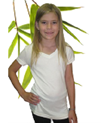 Bambu Dru Organic Bamboo Cotton Girl's Short Sleeved V-Neck Tee