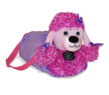 Zoobies Duffel Dogs™ - Posh The Poodle™ Bag, Pillow & Blanket, Soft Toy.
