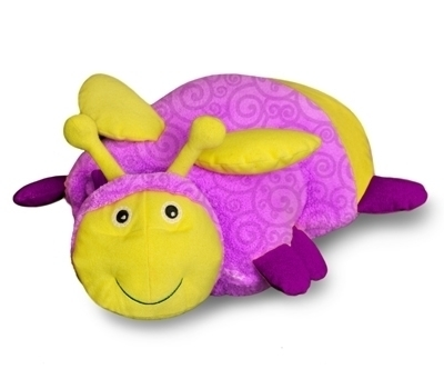Zoobies Flicker the Firefly, Glow in the dark, 3 in 1 blanket, pillow & plush toy, great kids childrens gift