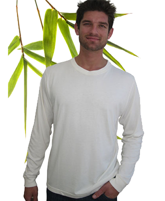 Bambu Dru Long Sleeve-Organic Bamboo Cotton T-Shirt. Round neck.