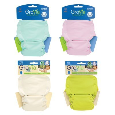 GROVIA Snap AIO (All-in-One) Clearance Cloth Pack Of 4 Cloth Diapers Washable