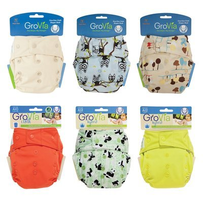 Grovia SNAP Shell AI2 OFFER Pack. Lot of 6pcs Cloth Diapers.