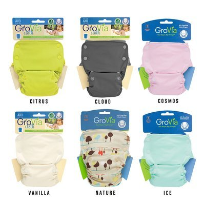 GROVIA SNAP AIO (All in one) OFFER Pack of 6pcs Reusable Cloth Diapers.