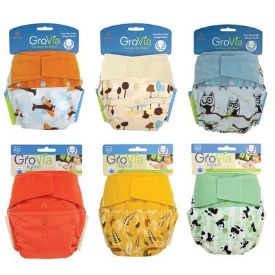 Grovia APLIX HOOK & LOOP AI2 Pack of 6pcs Shell Cloth Diapers. Neutral.