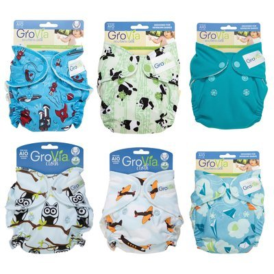 GROVIA Newborn AIO (All-in-One)  CLEARANCE NEW BORN SNAP Pack Of 6 Newborn Re-usable Cloth Diapers.