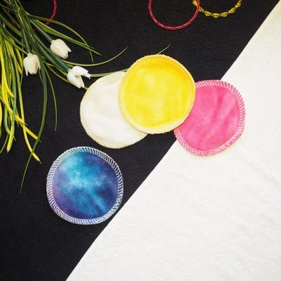 Re-usable Round Colored Bamboo Facial Cloth Puffs 3