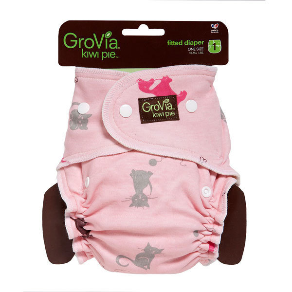 GroVia Kiwi Pie Fitted - Cats & Dogs Pink