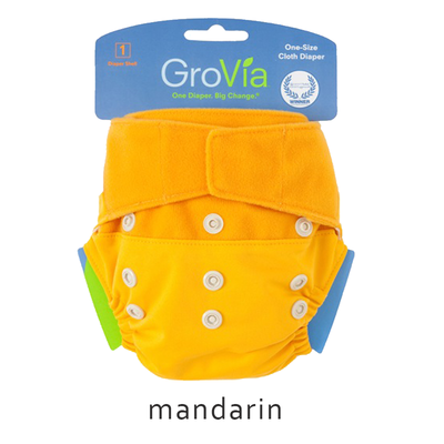 Grovia Aplix Hook and Loop AI2  Diaper Single Shell - Mandarin
