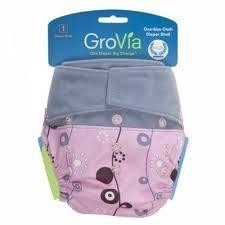 Grovia Aplix Hook and Loop AI2 Diaper Single Shell - Mod Flower