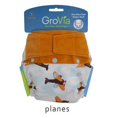 Grovia Aplix Hook and Loop AI2 Diaper Single Shell - Plane