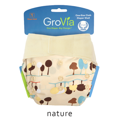 Grovia Aplix Hook and Loop AI2  Diaper Single Shell - Nature
