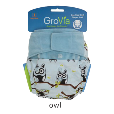 Grovia Aplix Hook and Loop AI2 Diaper Single Shell - Owls