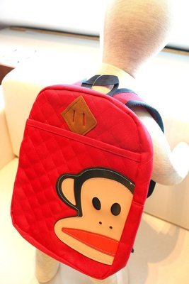 KIDS PRE-SCHOOL BAG MONKEY FACE  - Red
