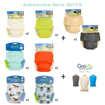 GROVIA Snap AIO (All in one) Awesome Set for Baby Boys 14 pieces.