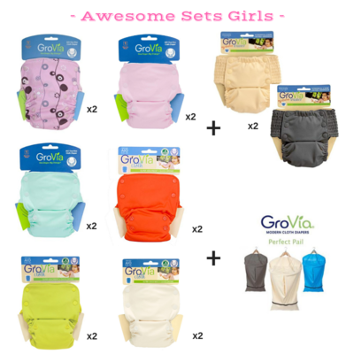 Grovia Snap AIO (All in one) Awesome Set for Baby Girls 14 pieces