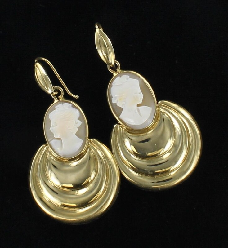 14KT CAMEO DANGLE EARRINGS