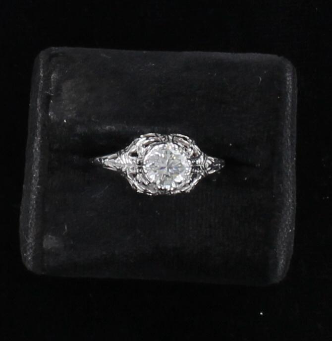 14KT .60 CT DIAMOND ENGAGEMENT RING CIRCA 1920