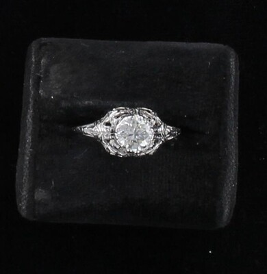 14KT .60 CT DIAMOND ENGAGEMENT RING CIRCA 1920