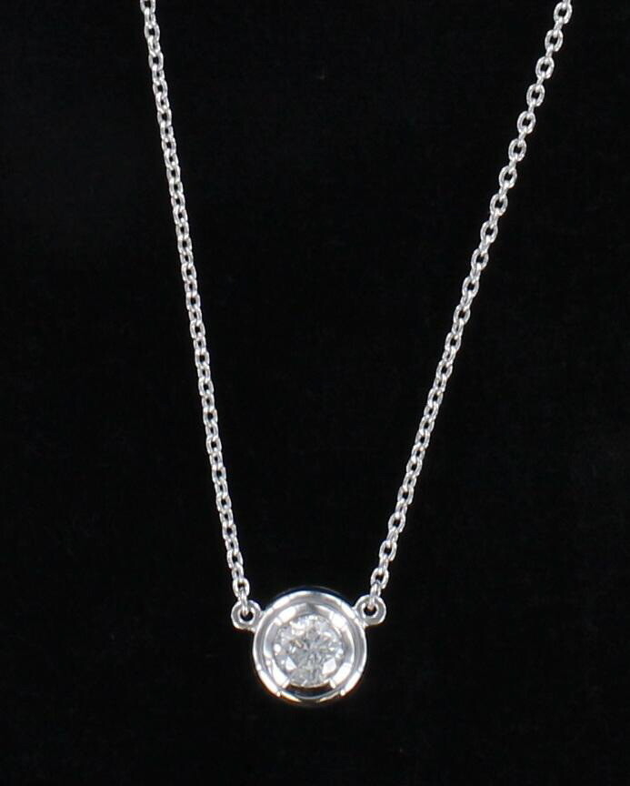 14KT .70 CT ROUND BEZEL SET DIAMOND NECKLACE