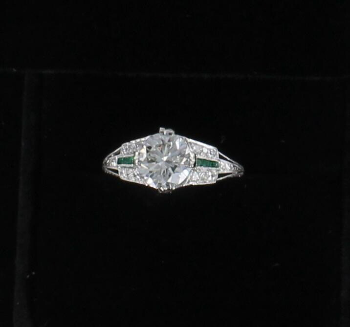 PLATINUM ART DECO GIA CERTIFIED 1.79 CT DIAMOND ENGAGEMENT RING WITH EMERALDS