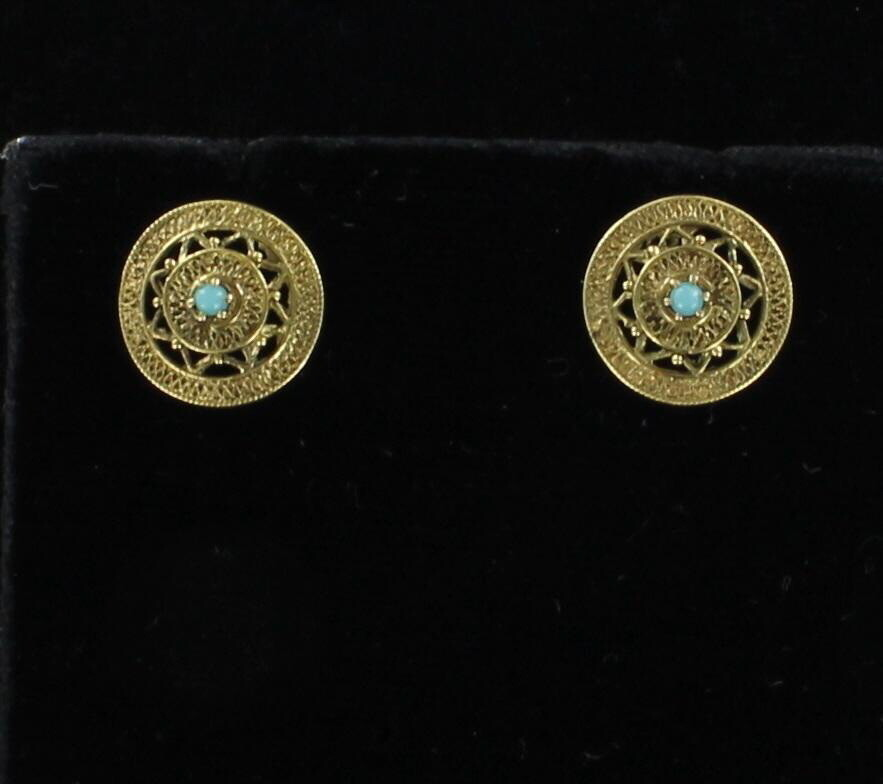 10KT TURQUOISE EARRINGS, CIRCA 1930