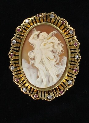 14KTY CAMEO PIN/PENDANT WITH RUBIES AND DIAMONDS CIRCA 1930