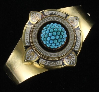 18KT TURQUOISE AND ENAMEL VICTORIAN BANGLE BRACELET
