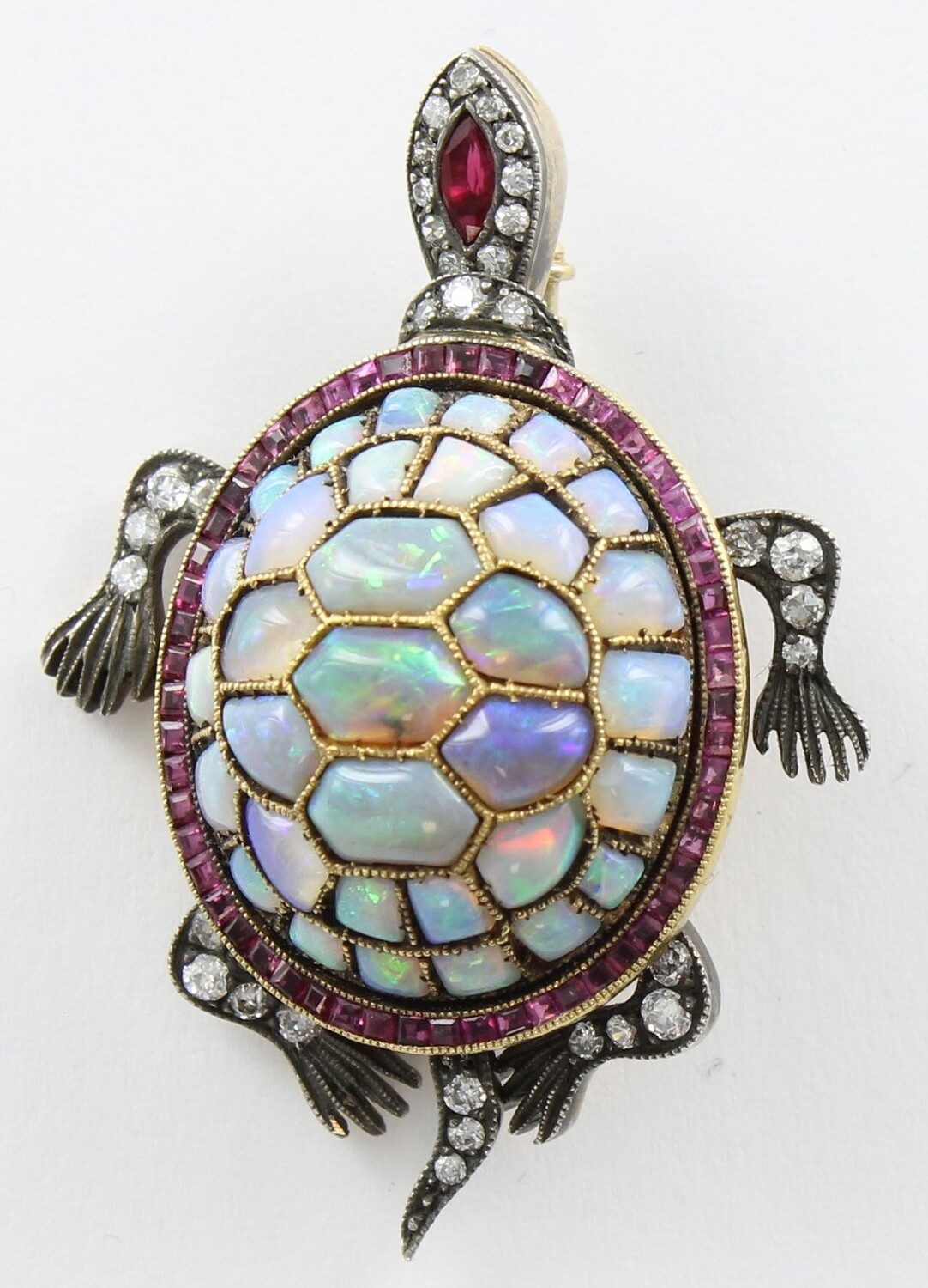18KT AND SILVER OPAL/DIAMOND/RUBY TURTLE PIN
