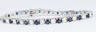 14KT WHITE GOLD DIAMOND AND SAPPHIRE LINE BRACELET