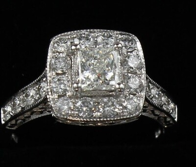14KT ART DECO STYLE DIAMOND ENGAGEMENT RING