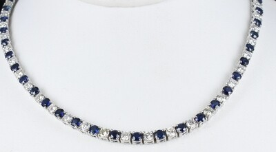 14KT SAPPHIRE AND DIAMOND NECKLACE