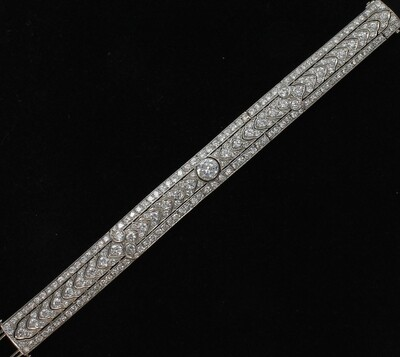 PLATINUM ART DECO DIAMOND BRACELET 1.50 CT CENTER DIAMOND + 11.25 CT