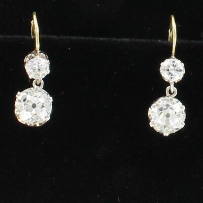 18KT YELLOW GOLD 5.27 CT TW OLD EUROPEAN CUT DIAMOND EARRINGS