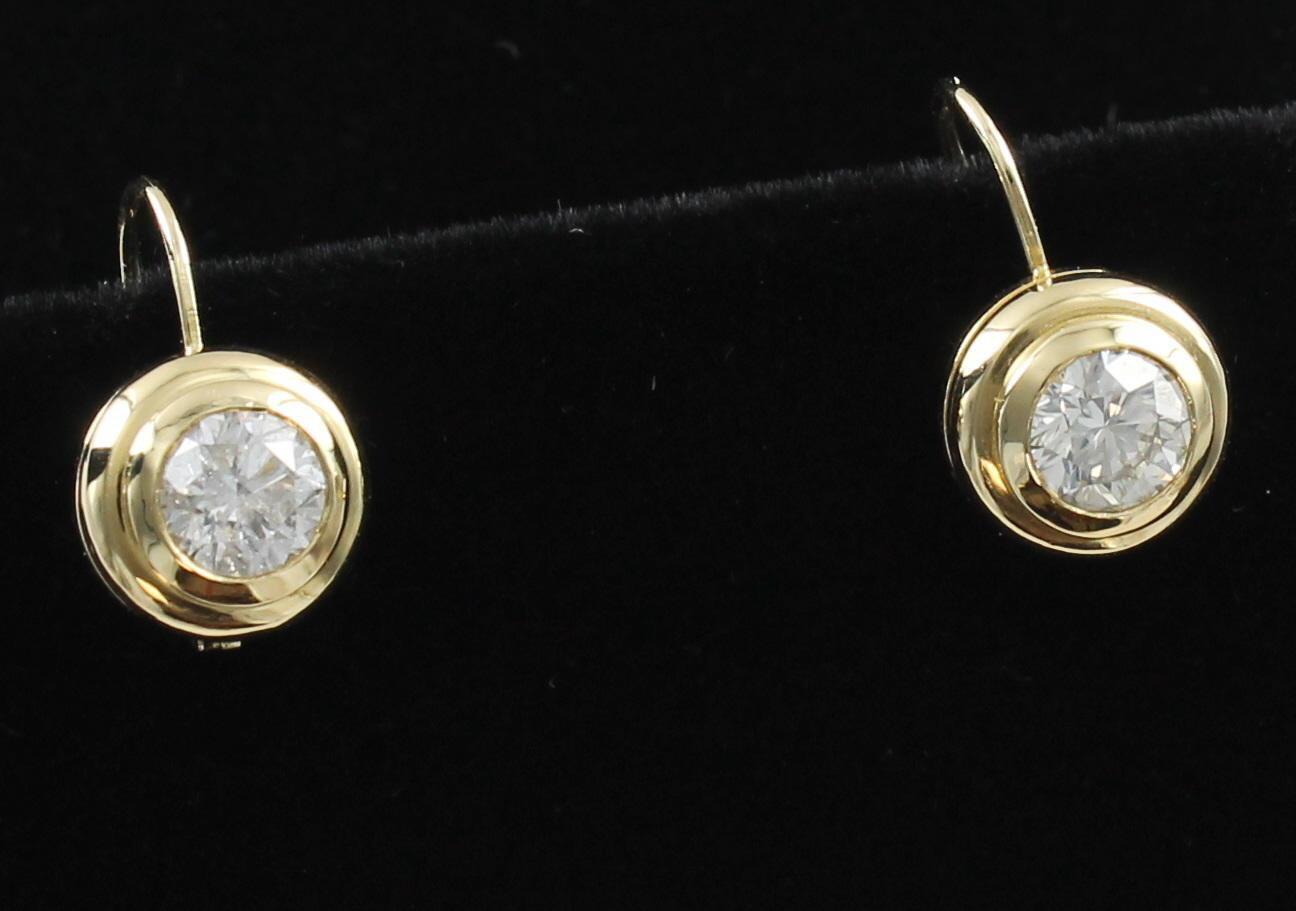 1.56 CT TOTAL WEIGHT DIAMOND DROP EARRINGS IN 14KT YELLOW GOLD BEZEL SETTING