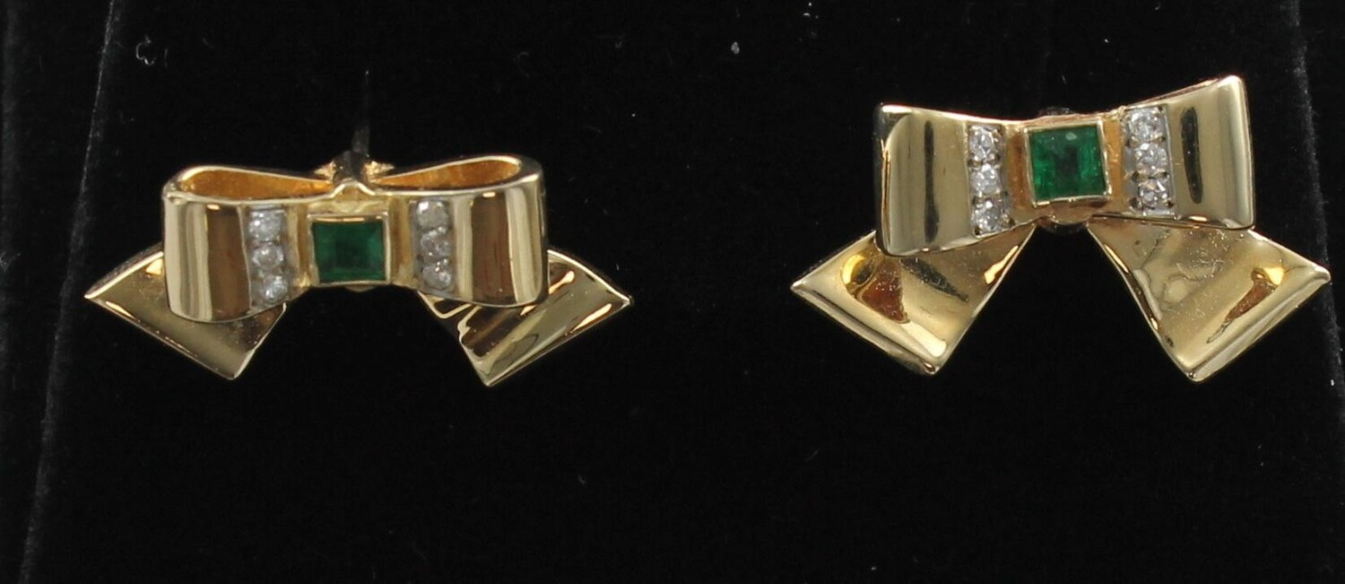14 KT. YELLOW GOLD EMERALD AND DIAMOND BOW EARRINGS