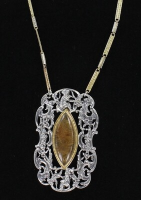 GOLD-FILLED STERLING SILVER BUCKLE WITH RUTILATED QUARTZ NECKLACE